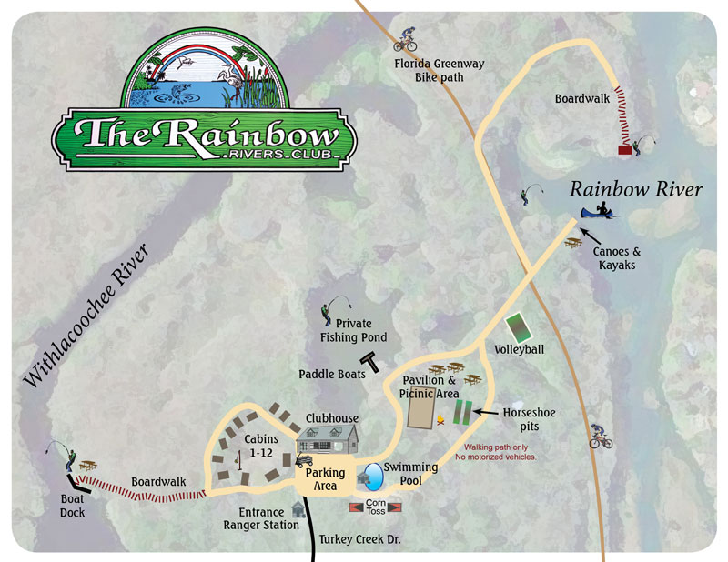 Florida Freshwater Springs Map.The Rainbow Rivers Club Rustic Cabins
